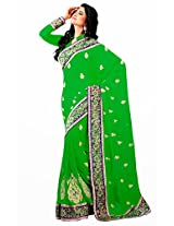 Orbymart Green Color Chiffon Saree - 55190266