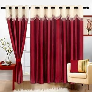 Cortina Fancy Crush MaroonPolyester Fabric Window Curtain