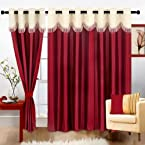 Cortina Fancy Crush MaroonPolyester Fabric Window Curtain