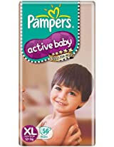 PAMPERS ACTIVE BABY DIAPERS - EXTRA LARGE - 56 (12KG)