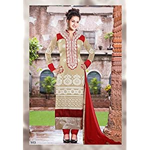 Beige and Red Long Pakistani Suit