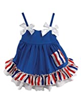 Stephan Baby Stars and Stripes Collection Ruffled Swing Top and Diaper Cover, 12-18 Months