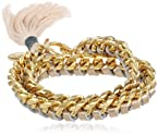 Ettika Gold Chain and Gold Leather with Cotton Thread Tassel Wrap Bracelet, 7