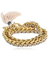 Ettika Gold Chain and Gold Leather with Cotton Thread Tassel Wrap Bracelet, 7""