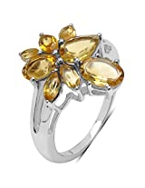 2.80CTW Genuine Citrine .925 Sterling Silver Ring