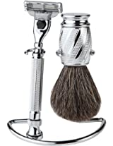 3 Piece Premium Shaving Set With Mach 3 Handle 100% Badger Brush With All metal Chrome Classy Stand Chrome Swirl (sidekick stand) AD