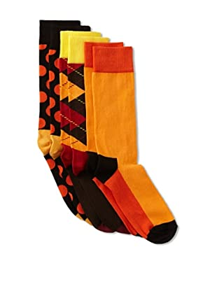 Happy Socks Men's Multi Socks (3 Pairs) (Orange/Black/Brown)