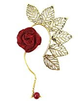 Ammvi Creations Multi Leaves Golden Ear Cuff with Currant Red Rose Charm