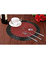 Set of 2 - Red Black Beaded Placemat for Round Table - Handmade Glass Beaded Placemat - Dia 8 Inches