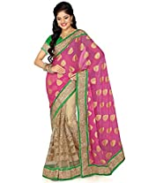Utsav Fashion Women's Pink and Beige Viscose and Net Saree with Blouse