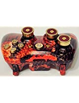 Microsoft Xbox 360 Custom Wireless Controller Red Snake Skin Hydro Dipped Shell+9mm Abxy Brass Bullet Buttons+12g Shotgun Shells Analog Thumbstick And D Pad