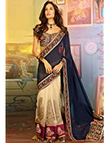 Blue Embroidered Saree Touch Trends