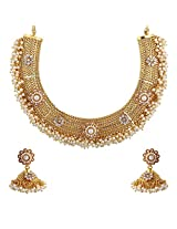 Royal Bling Exquisite White Pearl Surrounds Copper Necklace Set for Girls