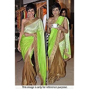 Bollywood Replica Mandira Bedi Georgette Saree In Gold and Green Colour NC392