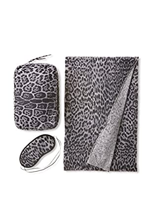 Sofia Cashmere Romagna Travel Set, Grey Leopard