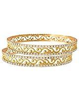 JFL- Jewellery Austrian Diamond Gold Designer Bangle Set for Girls and Women.