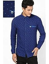 Blue Printed Casual Shirts