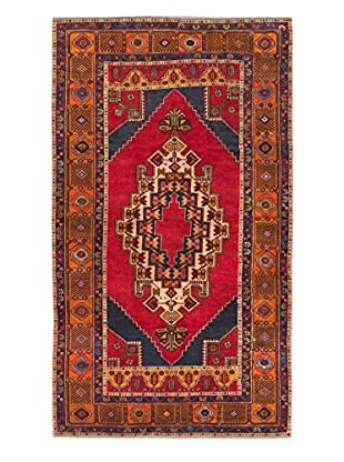 Hand-Knotted Anatolian Rug, Dark Navy/Red, 4' 4