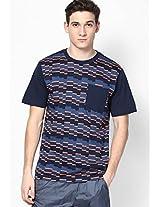 Navy Blue Skateboarding Round Neck T-Shirt