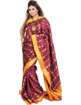 Exotic India Boysenberry and Nugget Brocaded Saree from Bangalore with Wo - Pink