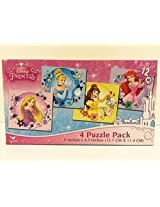 Disney Princess 4 Puzzle Pack 48 Pieces Ariel, Belle, Cinderella, Rupunzel