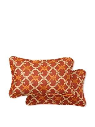 Set of 2 Heat Wave Rectangle Decorative Throw Pillows (Mango)