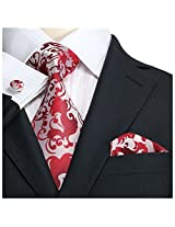 "Landisun Paisleys Mens Silk Tie Set: Necktie+Hanky+Cufflinks 86F Silver Red, 3.75""Wx66""L"