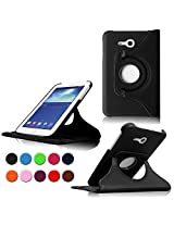 STONG Samsung Galaxy Tab 3 Lite 7.0 Rotating Case Cover- Premium Leather 360 Degree Multi-angle Swivel Stand Case Cover for Galaxy Tab 3 Lite 7.0-inch Tablet Case Cover Shell,Black (Not Fit for Samsung Galaxy Tab 3 7.0)
