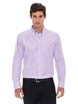 Turrau Camisa Cuadro Doble Pequeño Bicolor (Lila / Azul)
