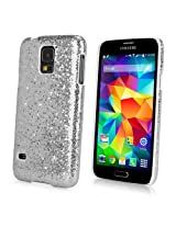 Galaxy S5 Case, BoxWave® [Glamour & Glitz Case] Slim, Snap-On Glitter Cover for Samsung Galaxy S5 - Silver Sparkles