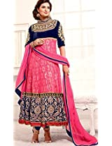 Fabboom New Arrival Pink And Navyblue Long Anarkali Suit