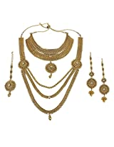 Exclusive South Indian Design Gold Plated Polki Bridal Necklace Set Exclusive Wedding Jewelry