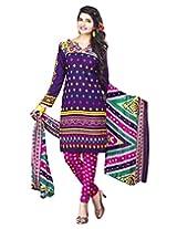 Jevi Prints Purple & Pink Art Crepe Dress Material with Dupatta