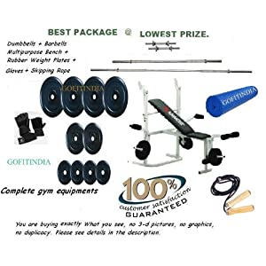 60 kg RUBBER PLATES + RODS + KAMACHI BENCH FOR HOME GYM WITH ACCESSORIES