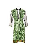 Lal Chhadi Women's Cotton Net Full Sleeve V-Neck Kurta