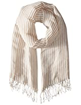 Saro Lifestyle Women's Striped Design Shawl with Fringed Edges, Natural, One Size