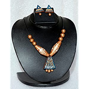 Anikalan Designs Multicolour Geometric Design Terracotta Necklace Set