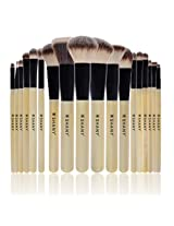 SHANY Triple Pro 18 Piece Brush Set Synthetic and Natural Hair with Apron, Bamboo