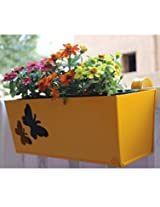 Green Gardenia Railing Rectangular Planter with butterfly cut yellow color