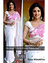 Bollywood Replica Shilpa Shetty Net Saree In White And Pink Colour Nc138