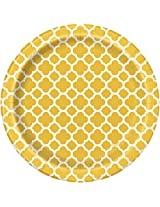 "Quatrefoil Dessert Plates, 6.875"", Yellow, 8 Count"