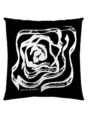Devota & Lomba Funda Cojín Rosas Panel (Blanco / Negro)