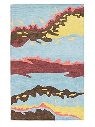 Handmade Abstract Art Rug, Light Blue, 5' x 8'