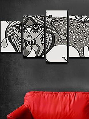 Homemania  Set Panel Decorativo 5 Uds. Canvas Blanco/Gris