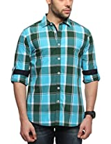 Zovi Cotton Slim Fit Casual Blue Checkered Shirt(11926400301_Small)