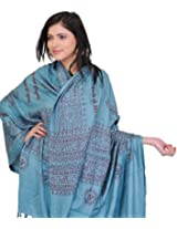 Exotic India Prayer Shawl with Printed Hare Ram Hare Krishna Mantra - Color TealColor Free Size