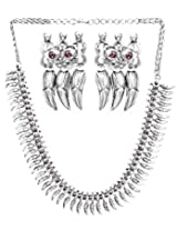 Exotic India Flower Buds Necklace with Earrings Set (South Indian Temple Jewelry) - Sterling Silver