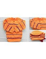 4 motnhs- 10 months : Handmade Baby Winter wear - Baby Woolens - Sweater & Cap - BW13 - Tuti Fruity Orange