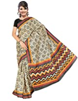 Somya Women's Bhagalpuri Silk Printed Black and White Saree