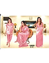 Indiatrendzs Womens Silk Satin 4pc set Nightwear Pink Flirty Nighgown freesize